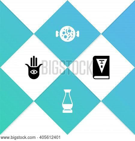 Set Hamsa Hand, Indian Vase, Chicken Tikka Masala And Constitution Day Icon. Vector