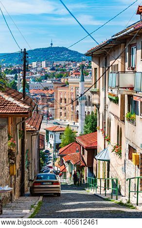 Sarajevo, Bosnia And Herzegovina - September 9, 2015: Old Street Of Sarajevo, Bosnia And Herzegovina