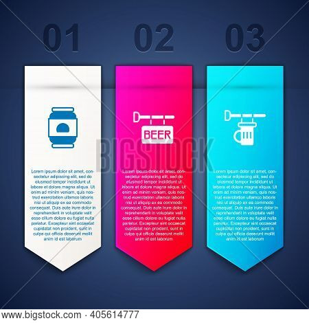 Set Beer Can, Street Signboard With And Signboard Glass Of Beer. Business Infographic Template. Vect
