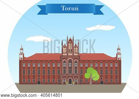 Torun, Poland. Historic Gothic Town Hall - Detailed Vector Illustration