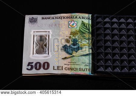 Lei Romanian Money Banknotes In Black Wallet Isolated