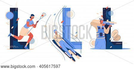Collection Of Various Sport Starting With L. Luge Sleigh Riding, Lacrosse And Lasertag Game. Women P
