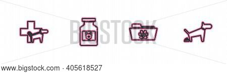 Set Line Veterinary Clinic, Medical Veterinary Record Folder, Dog Medicine Bottle And Pooping Icon.