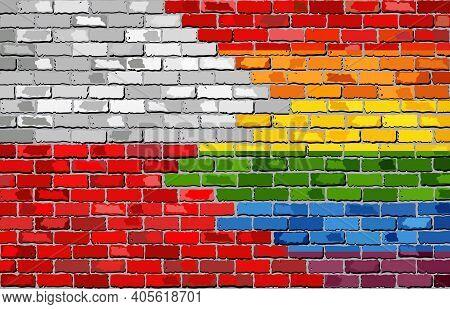 Brick Wall Poland And Gay Flags - Illustration, Rainbow Flag On Brick Textured Background