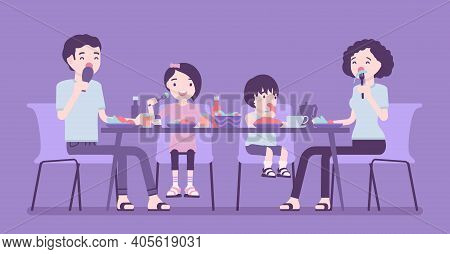 Happy Family Of Four Eating Dinner At Table. Parents And Kids Gathering For Food After Work And Stud