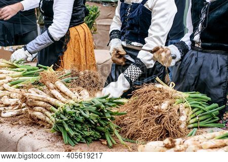 Spring Onion On The Table. Hands Of Women Clean And Prepare Spring Onion For Grill And Cook. Holiday