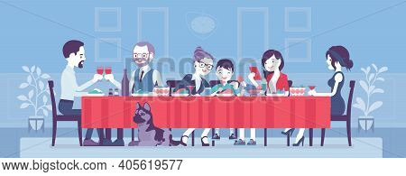 Big Happy Family Eating Festive Dinner At Table. Holiday Gathering For Many People Of Different Gene