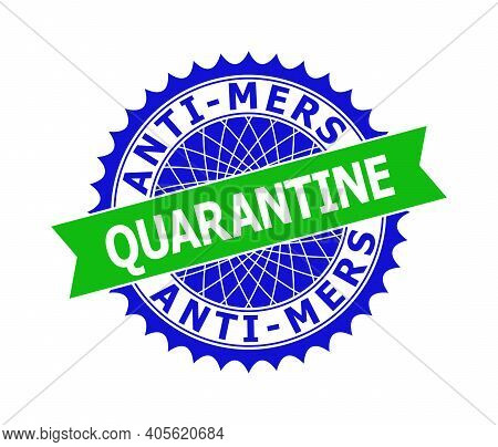 Vector Anti-mers Quarantine Bicolor Template For Imprints With Clean Surface. Flat Simple Seal Templ