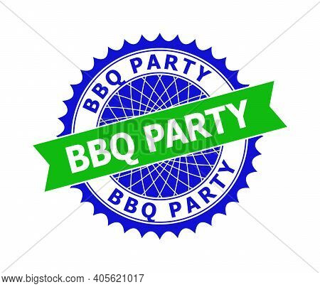 Vector Bbq Party Bicolor Template For Rubber Imitations With Clean Surface. Flat Clean Watermark Wit