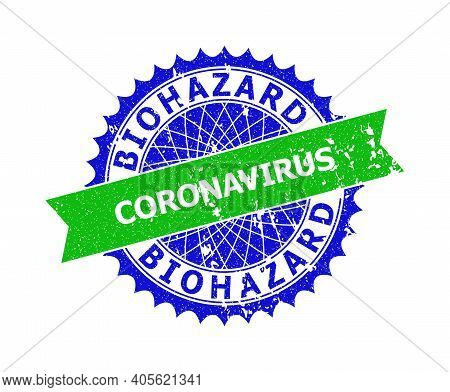 Vector Biohazard Coronavirus Bicolor Stamp With Distress Surface. Blue And Green Colors. Flat Stamp