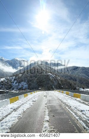 The Leaves Of The Trees Fell On The Mountain. It Snowed In The Mountains . Bash Dashagil Village Of
