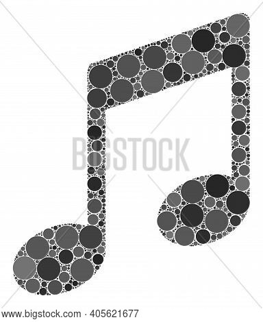 Musical Notes Raster Mosaic Of Small Circles In Various Sizes And Color Hues. Small Circles Are Grou