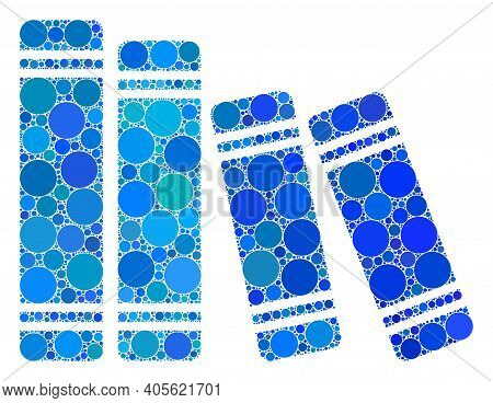 Books Raster Mosaic Of Round Dots In Different Sizes And Color Tones. Round Dots Are Combined Into B
