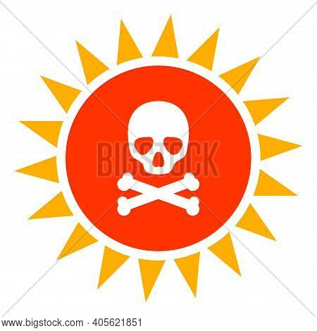 Death Sun Radiation Icon With Flat Style On A White Background. Isolated Raster Death Sun Radiation