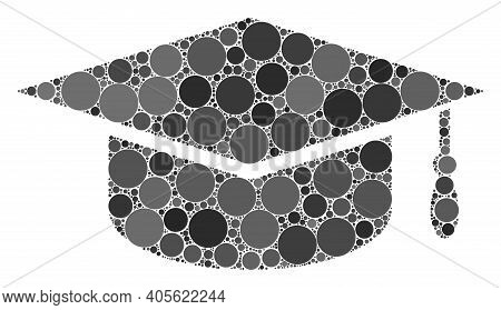 Graduation Cap Raster Composition Of Small Circles In Different Sizes And Color Tints. Small Circles