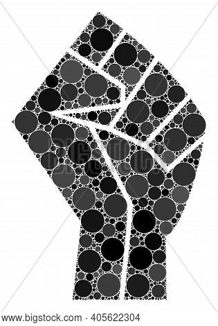 Fist Raster Collage Of Dots In Various Sizes And Color Tints. Circle Dots Are Organized Into Fist Ra