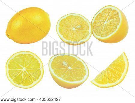 Lemons Side View Isolated On White Background. Set Of Lemon Fruit.
