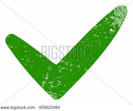 Yes Icon With Grunge Effect. Isolated Raster Yes Pictogram With Grunge Rubber Texture On A White Bac