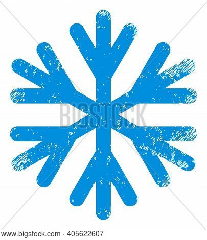 Snow Flake Icon With Grunge Effect. Isolated Raster Snow Flake Icon Image With Corroded Rubber Textu