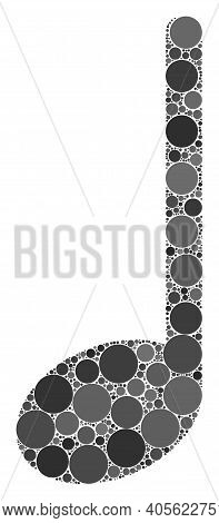 Musical Note Raster Collage Of Round Dots In Variable Sizes And Color Tones. Round Dots Are Combined