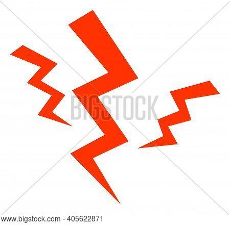 Crack Strikes Icon With Flat Style On A White Background. Isolated Raster Crack Strikes Icon Image,