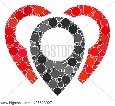Map Markers Raster Mosaic Of Small Circles In Different Sizes And Color Tones. Small Circles Are Org