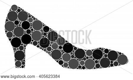 Lady Shoe Raster Composition Of Circle Dots In Various Sizes And Color Hues. Circle Dots Are Organiz
