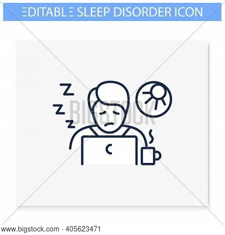 Narcolepsy Line Icon. Sleep Disorder. Healthy Sleeping Concept. Sleep Problems Treatment. Falling As