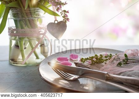 Table Dekoration For A Mothers Day Menu. Spring Flowers With Heart Shape On Gray Wooden Table And Sh