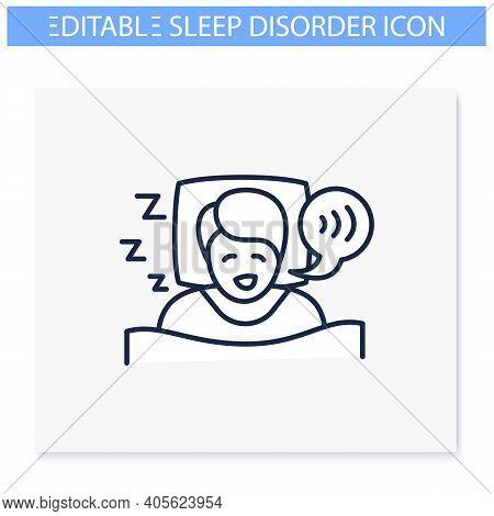 Sleep Talking Line Icon. Sleep Disorder. Healthy Sleeping Concept. Sleep Problems Treatment. Dyssomn