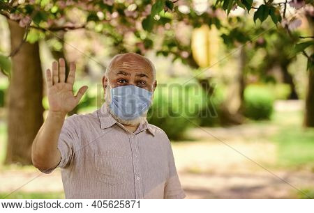 Support Elderly During Coronavirus Lockdown And Social Distancing. Safety Measures. Coronavirus Pand