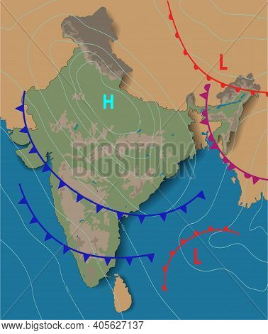 Weather Map Of The India. Chart Synoptic Showing Isobars And Weather Fronts. Meteorological Forecast