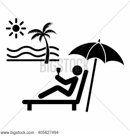 Relax Recliner Man Tourism Leisure Rest On Beachside On Holiday Summer Vacation With Sun, Sand, Para