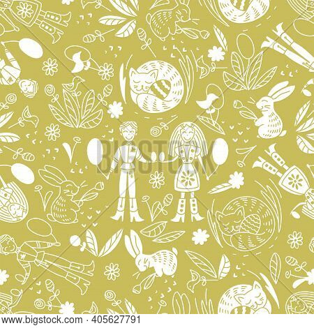 Seamless Pattern On The Easter Theme. A Boy And A Girl Exchange Easter Eggs. Traditional Spring Fest