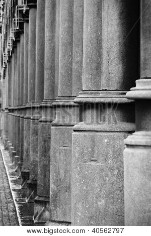 Ancient columns in black and white