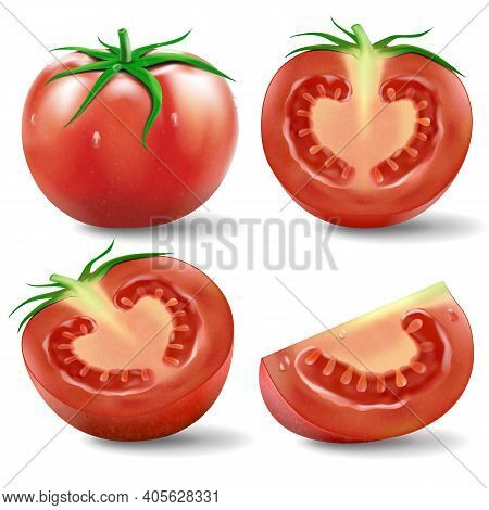 Tomato Set .a Set Of Realistic Illustration Ripe Tomato In Various Cuts Such As A Cut In Half, Cut I