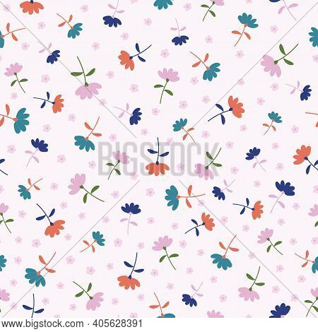 Colorful Tossed Floral Seamless Repeating Pattern Background