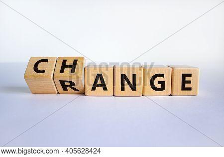 Change Range Symbol. Turned Cubes And Changed The Word 'change' To 'range'. Beautiful White Backgrou
