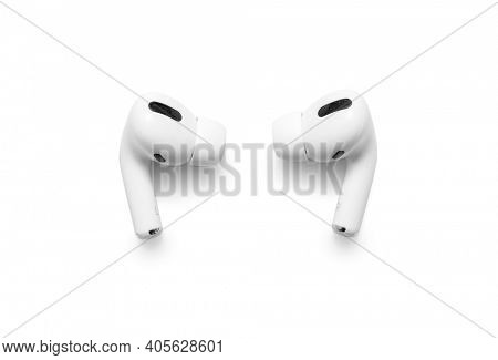 Belgrade, Serbia - January 2021. Apple AirPods Pro on white background, including clipping path