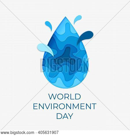 World Environment Day.  Paper Art Concept.the Celebration Dedicated To Help Protect, And Conserve Oc