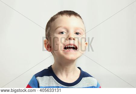 Boy, Kid Performs Articulation Exercises For The Tongue, Correct Pronunciation, Vocals, Dental Conce