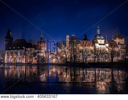 Night View Of Vajdahunyad Castle In Budapest (hungary)