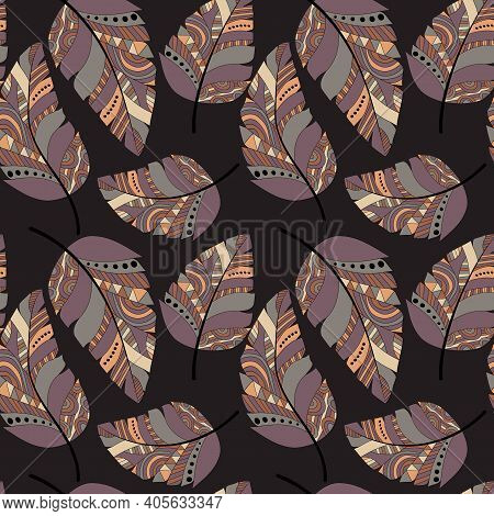Plumage Seamless Pattern. Vector Isolated Plume On A Dark Coral Background. Bright Colored Feathers.