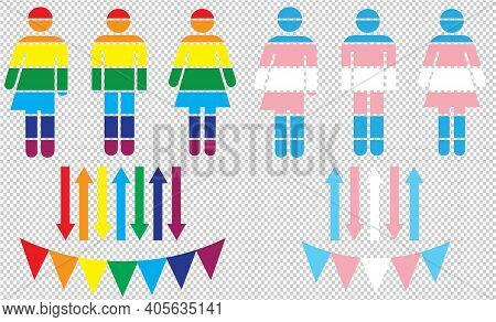 A Set Of Lgbt Vector Graphics In The Colours Of The Trans Pride And Gay Pride Flags