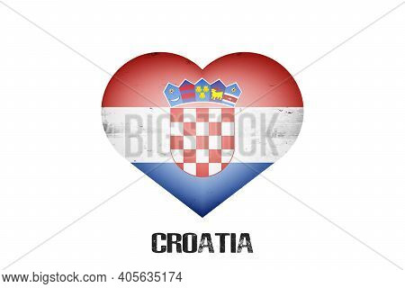 Flag Of Croatia In The Form Of A Heart