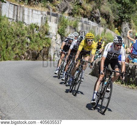 Pont-de-montvert-sud-mont-lozere, France - July 21, 2018: Chris Froome And Geraint Thomas In Yellow