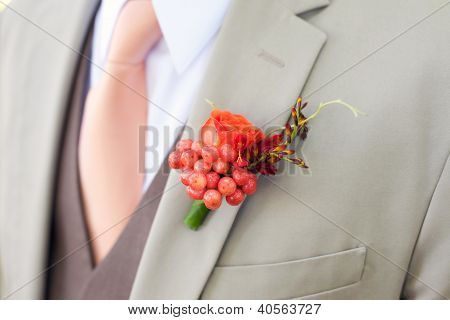 Wedding Boutonniere on Suit of a Groom