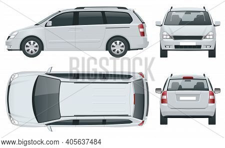Minivan Car Vector Template On White Background. Compact Crossover, Suv, 5-door Minivan Car. View Fr