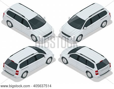 Minivan Car Vector Template On White Background. Compact Crossover, Suv, 5-door Minivan Car. View Is