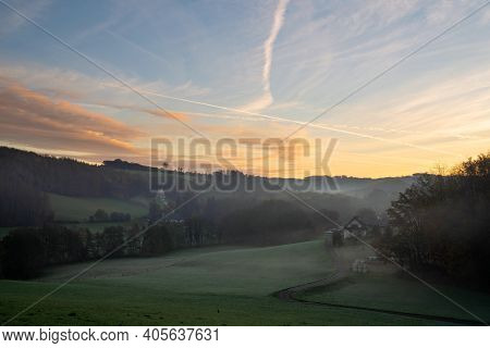 Panoramic Image Of Scenic View On A Foggy Morning, Bergisches Land, Odenthal, Germany